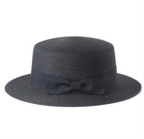 Women/'s Beach Flat Top Straw Hats Boater Bow Summer Panama With Variety Of Color