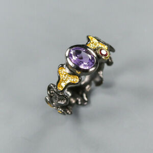 Amethyst Ring 925 Sterling Silver Size 9 /RT20-0047