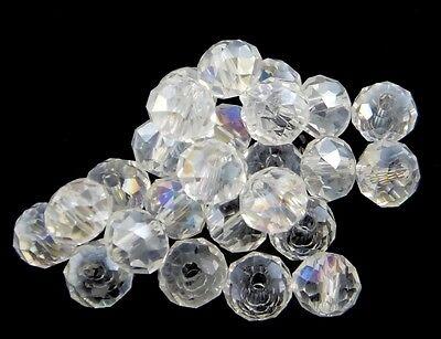 20 CRISTAL TCHÈQUE PERLES PERLES DE VERRE 8 mm Crystall AB Rondell Best x159