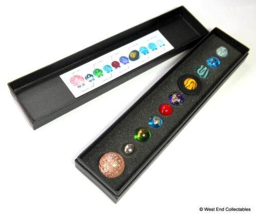 Boxed Miniature Solar System Orrery Globe Planet Marbles Set- 14-22mm Collection