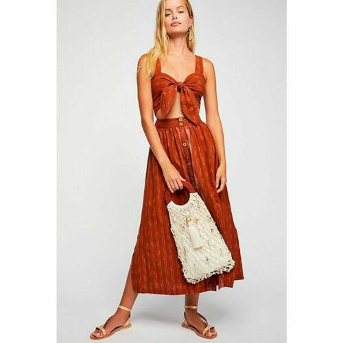 Free People Caldasi Midi Dress Tie Front Bronze Brown Size S