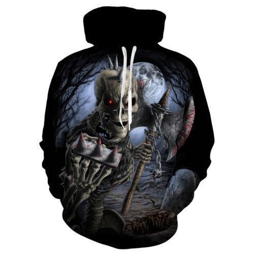 Cool Skull 3D Print Men Womens Hoodie Sweatshirt Pullover Jumper Hoody Coat Tops