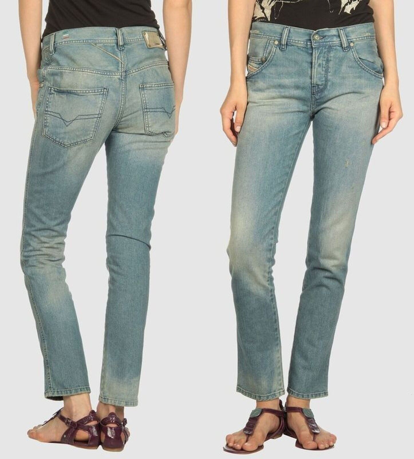 Diesel STAFFI 8KL 28 Women ANKLE Jeans SEXY Denim Pants Lady Sexy Gift NEW ITALY