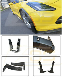 Details about For 14-19 Corvette C7 Z06 Z07 Stage 3 Front Splitter  Extension Winglets ABS Kit