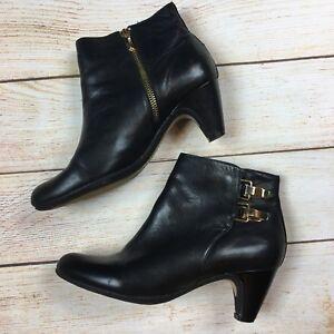 e397ec398cbc39 Sam Edelman Marmont  160 Black Leather Ankle Booties Brass Buckles ...