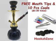 "Small 10"" BLACK GOLD Hookah Pumpkin Shisha Smoking Tobacco Pipe Coals 1 Hose"