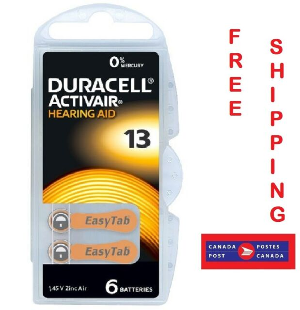 Duracell1.45V Activair Size 13 (DA13) Easy Tab Hearing Aid Batteries (Pack of 6)