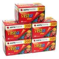 5 Rolls Of Agfa Vista Plus 200 135-36 Color Print Film Exp 04/2017