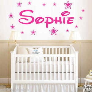 Personalised-WALL-STICKER-Name-with-Stars-Disney-Style-children-Room-Nursery-B