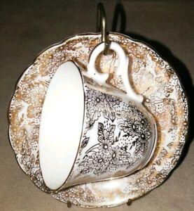 Colclough-Genuine-Bone-China-Tea-Cup-And-saucer-Set-vintage-24k-gold