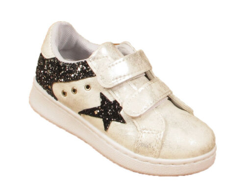 Kids Girls Running Tennis Trainers Childrens Glitter Sports  Strappy Shoes Size