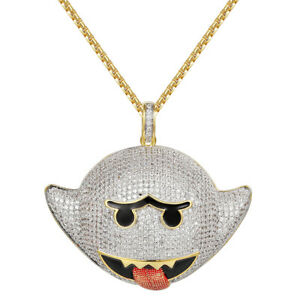 Details about 14k Gold Finish Flying Ghost Emoji Pendant Iced Out Simulated  Diamonds Chain New