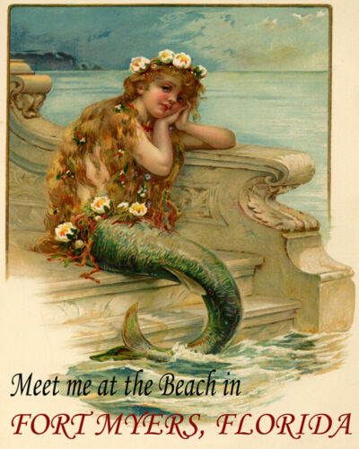 POSTER LITTLE MERMAID MEET AT THE BEACH FORT MYERS FLORIDA VINTAGE REPRO FREE SH