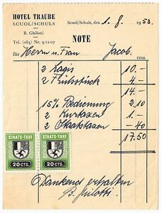 Trendmarkierung Scuol / Schuls Hotel Traube B Ghilotti / Rechnung Von 1953 / Staats-taxe 20 Cts.