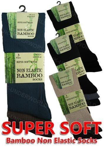 6 Pairs Mens Diabetic Bamboo Non-Elastic Ribbed Socks Anti Bacterial Loose Top