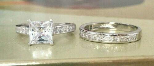2 CT Princess cut Engagement Ring 2 Piece Wedding Bridal Band Set 14k White Gold