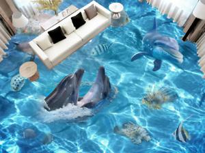 3D blancoo Delfines Papel Pintado Mural Parojo Impresión de suelo 54 5D AJ Wallpaper Reino Unido Limón