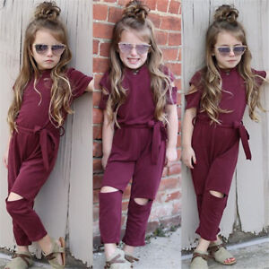35f87a40dce9 Trendy Kids Baby Girls Holes Romper Bodysuit Jumpsuit Outfits ...