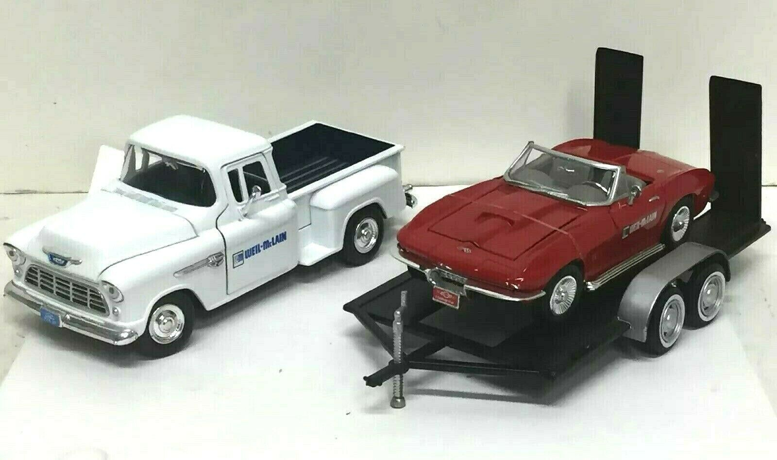 WEIL-MCLAIN 1 24 DIE CAST CHEVY 5100 STEPSIDE & 1967 CORVETTE With TRAILER