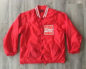 Coca Red Jacket Coke Custom Mens 1980's Embroidered cola Large Vintage Up Button wC1fn