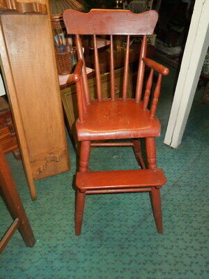 10tjc . American, Childs High Chair- With Arms, Painted Red