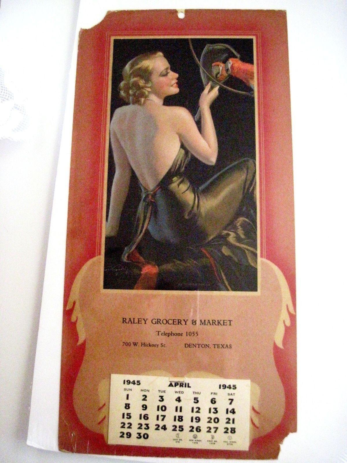 Pubblicità Vintage Calendario per   Raley Drogheria & Mercato   Piacevole Donna