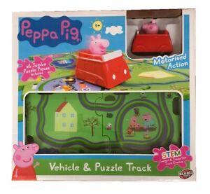Peppa-Pig-Peppa-039-s-Vehicle-amp-Jumbo-Puzzle-Track-Set-Motorised-Car-Toy-Playset
