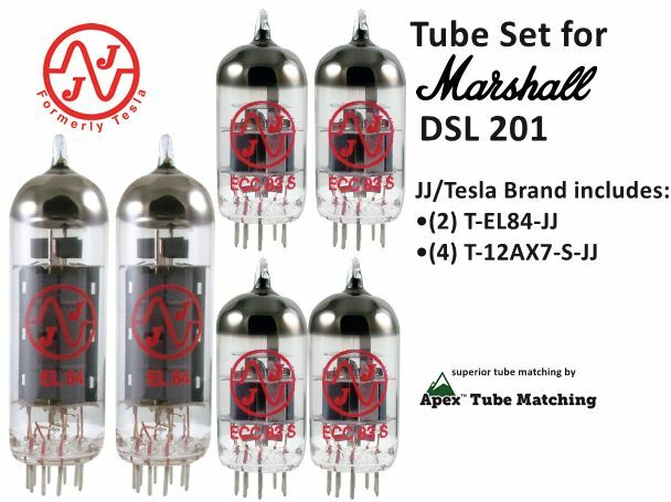 Tube Set Marshall DSL 201 electric guitar amplifier Apex Matched JJ Electronics