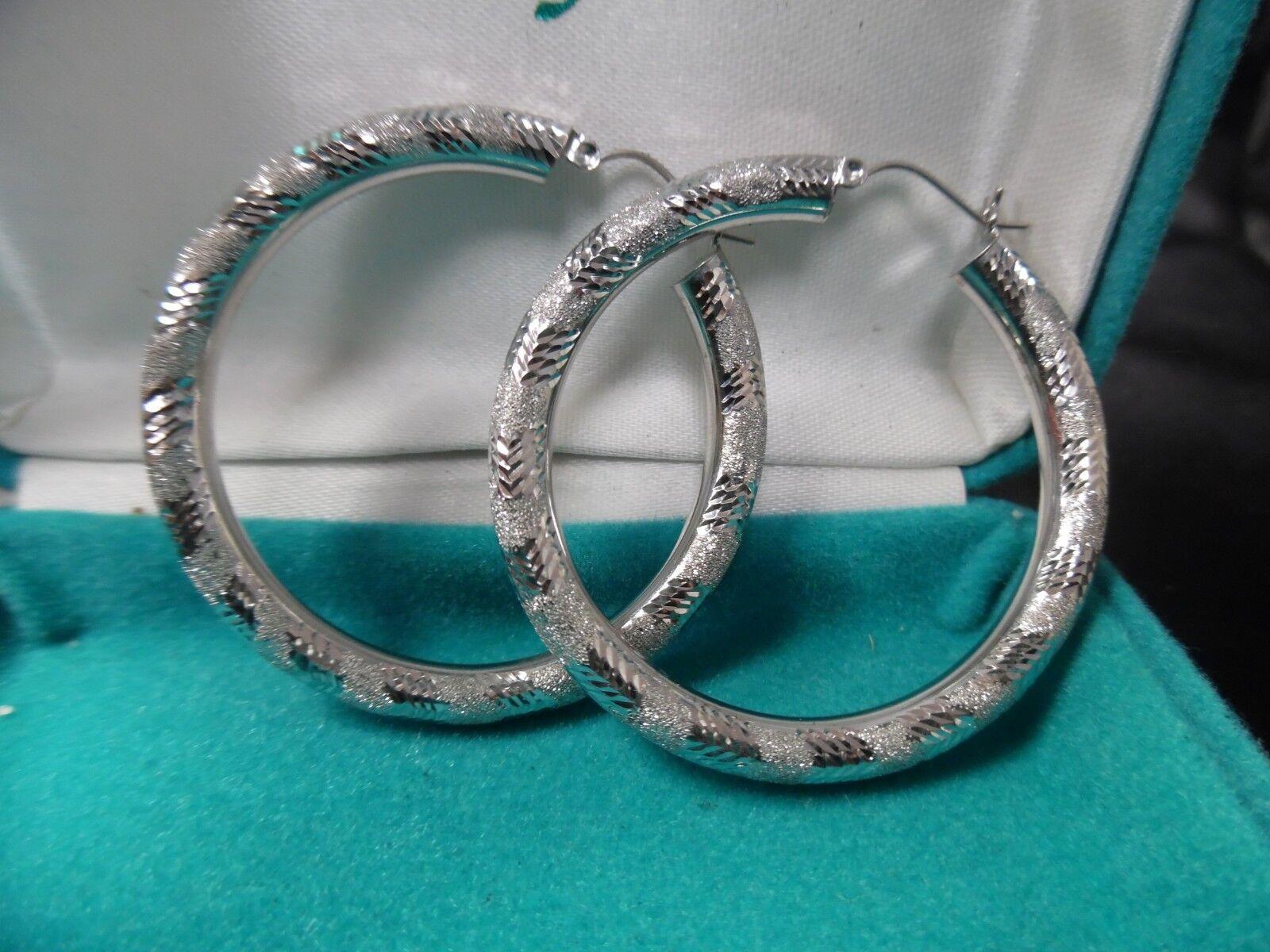 ESTATE LARGE 14KT WHITE gold DIAMOND CUT SHINY HOOP HANGING EARRINGS 6.5 GRAMS
