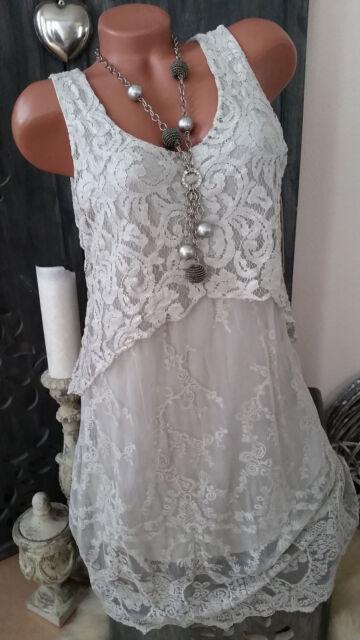 ★Spitzenkleid Häkelspitze Kleid Spitze Lagenlook hellgrau ★NEU ITALY Gr 38 40 42