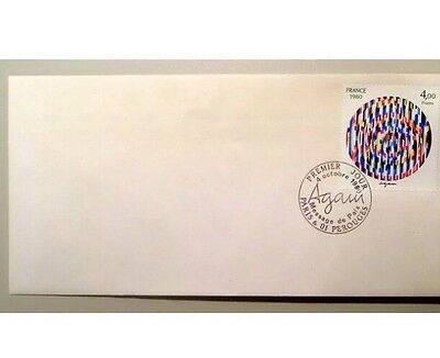 France FDC YAACOV AGAM Stamp Israel Agamograph cachets 3 Prints Stamp