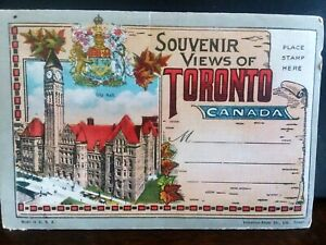 VINTAGE-SOUVENIR-POST-CARD-FOLDER-TORONTO-CANADA-Post-Card-Fold-Out-1930-039-s