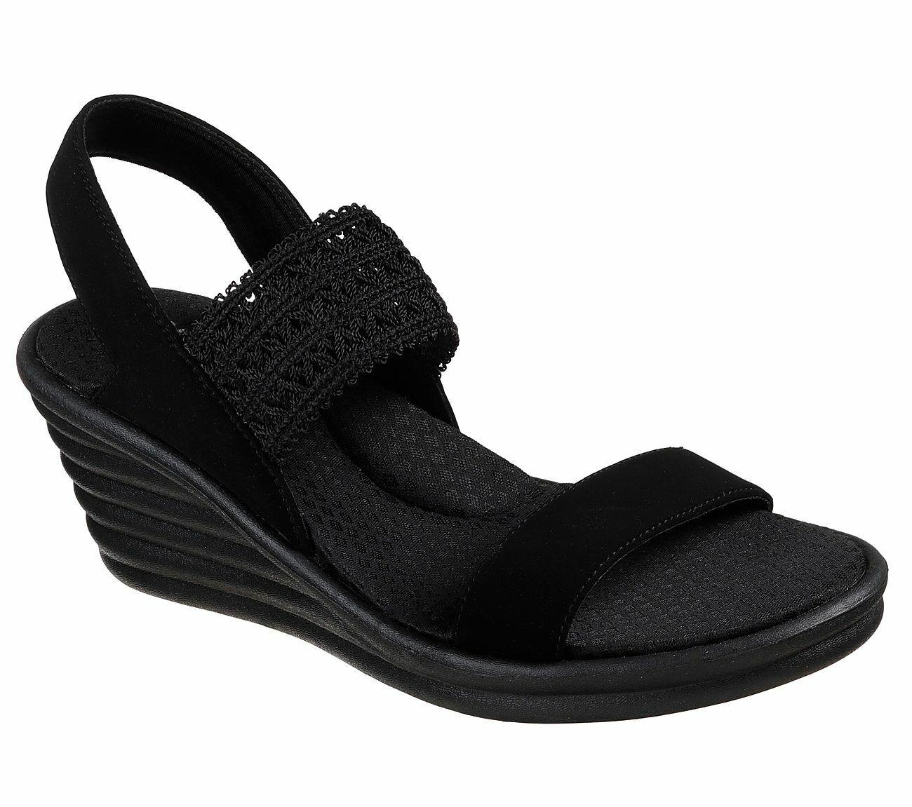Skechers Cali Rumblers Wave Drama Diva des sandales compensées pour femmes mousse à mémoire de forme 31596