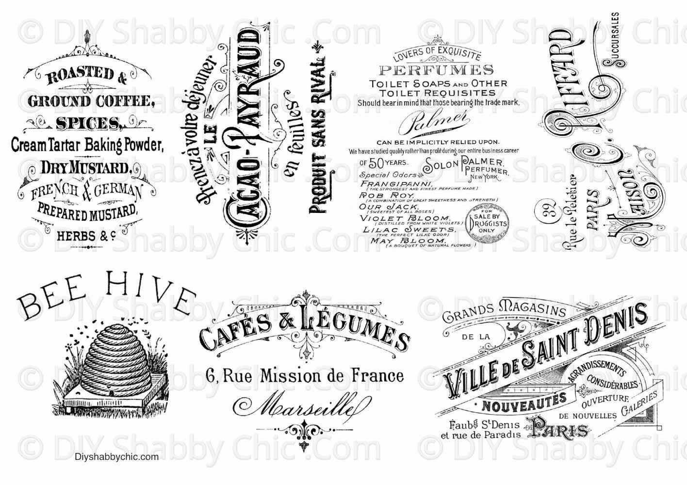 wood Water Slide Decal Print transfer to furniture paper; Typography Vintage labels; Pret-a-Porter French Advert #039