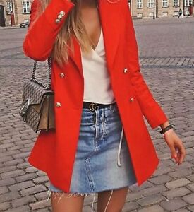 1e634d8b Zara New Coral Red Double Breasted Military Jacket Blazer Frock Coat ...