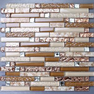 interlocking glass tile beige rose gold backsplash kitchen