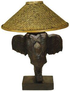 Elefantenlampe-Tischlampe-aus-Elefantenkopf-Holz-50-cm-hoch-Afrikalampe