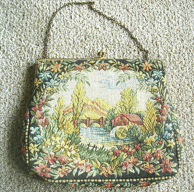 MADE IN FRANCE TAPESTY EVENING BAG - SCENIC COUNTRY HOUSE BY WATER MILL BRIDGE