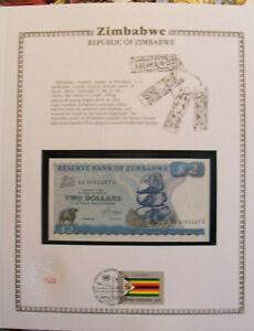 Zimbabwe Banknote 2 Dollars 1983 P 1b UNC w / UN FDI FLAG  Prefix AA suffix S