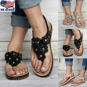0fa74cd2f Women Flip Flops Elastic Strap Summer Boho T-Strap Thong Flat ...