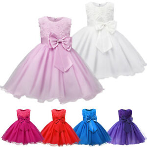 bbb7a4fb7 Flower Girl Dress Kids Princess Party Wedding Pageant Formal Tulle ...