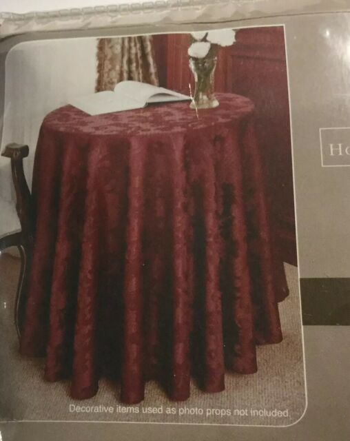 "Damask Scroll Premum Quality Vinyl Flannel Back Tablecloth 70/"" Round"