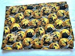 Halloween-Black-Yellow-White-Witches-Spiders-Pumpkins-Set-4-Rectangle-Placemats
