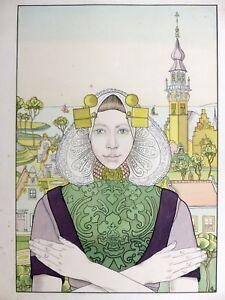Franz-MELCHERS-Phalene-des-Iles-de-la-Mer-1897-Lithographie-couleur-ART-NOUVEAU
