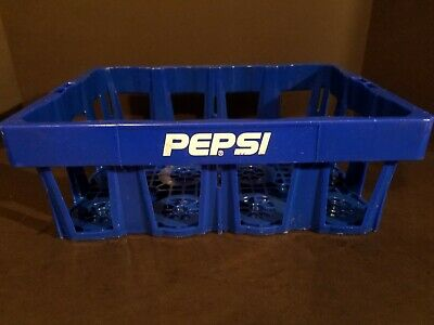 Pepsi Cola Blue Plastic Stackable Drink Crate Carrier Tray Caddy Great For Botte