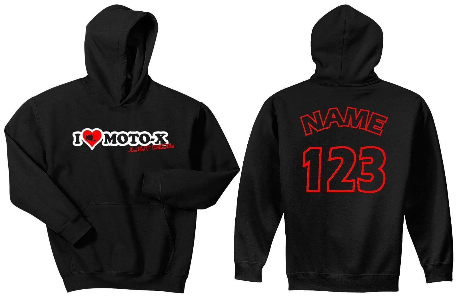 I Love Moto-X Kapuzenpulli Sweatshirt Just Ride Pulli Mx Motocross YZF Crf Kxf