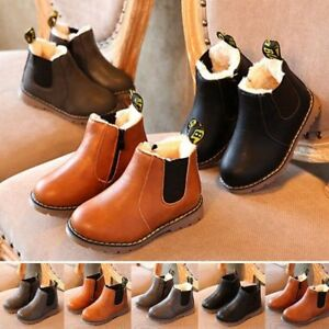 Kids Boy Girl Leather Ankle Chelsea Zip Up Boots Fur Lined Martin Snow Shoes AU
