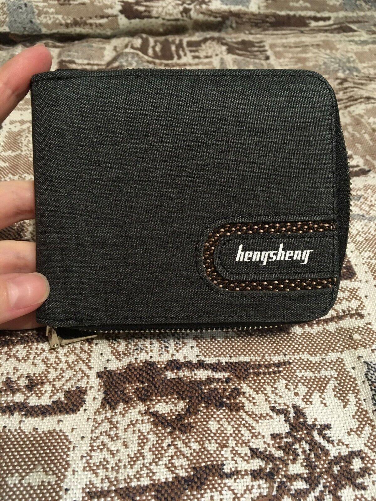 Canvas Men Wallet With Zipper For Money Coins Cards Clutch Purse Bag Black Grey