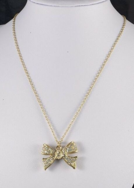 GOLD TONE CHAIN  NECKLACE WITH DROP RHINESTONE BOW SHAPED NECKLACE