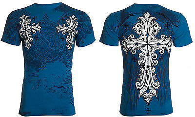 Throwdown AFFLICTION Tattoo REDEMPTION Cross Wings Fight Biker UFC T-SHIRT MEN M